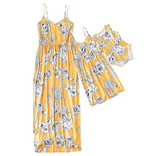 DQANIU ❤️Mama & Me❤️ Dame Mama ärmelloses gestreiftes Blumenkleid, das zur Kleidung der Familie passt, Kinder Mädchen Blumenkleid (1J-9J), Baby-Strampler-Overall, Kleidung der Familie passt (3M-18M)