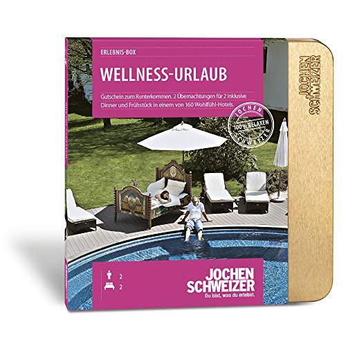 Jochen Schweizer Hotelgutschein WELLNESS-URLAUB für 2 | 2 ÜN für 2 Personen | inkl. Gutschein für Frühstück und Abendessen |160 Hotels vorwiegend 4**** | inkl. Katalog und Geschenkbox