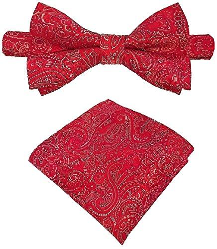 Louis Binder de Luxe Fliege mit Einstecktuch und Aufbewahrungsbox 2er Fliegen Set Schlips Querbinder Schleife Mascherl Krawattenschleife 458 rot Paisley Rote Paisley Bow