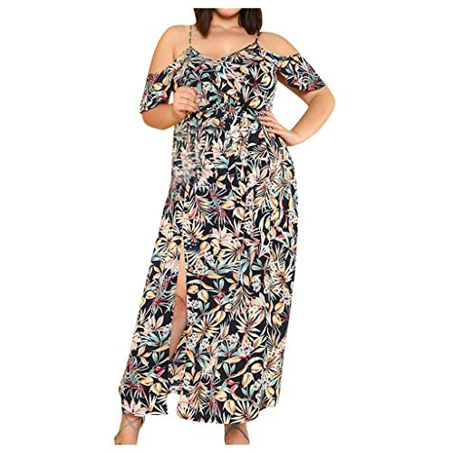 iYmitz Damen Übergröße Maxikleid Elegant V-Ausschnitt Kurzarm Kleider mit Blumen Pailletten Abend Party Netzkleid(X1-Mehrfarbig,EU-48/CN-2XL)