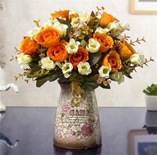 off gefälschte Blumen, Topf Kühlschrank Dekoration, Wohnzimmer Anzeige Simulation grüne Pflanzen, kleine Bonsai, dekoriert trockenes Bouquet , maroon ()