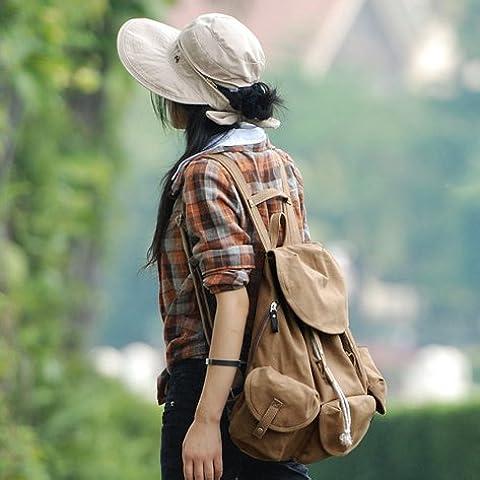 Il giapponese e il coreano uomini e donne amante sacchi di tela casual borse letterarie ventola vento studente di college zaini Backpack,Desert Tan