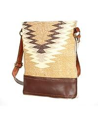 Sobar Design Leather And Rug Tote Shoulder Bag Stylish Shopping Casual Bag Foldaway Travel Bag