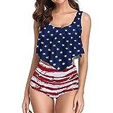 Morran Mujer Retro Polka Punto Cintura Alta Traje de baño Bikini,Bandera Americana, Dos Pieza Brasileños Push Up Bikini Playa con Relleno