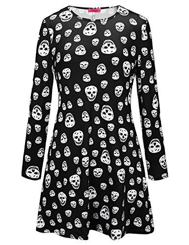 Frauen-Halloween-Kleid-langes Hülsen-Schädel-Druck-Flared-Schwingen-Kleid