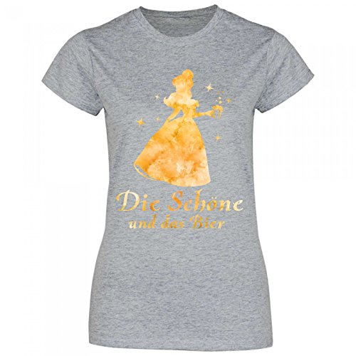 Royal Shirt a16 Damen T-Shirt Die Schöne und Das Bier | Partyshirt Sprücheshirt Girlyshirt, Größe:M, Farbe:Sport Grey (Heather)
