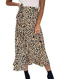 FELZ Falda Larga Mujer Falda Mujer Fiesta Falda Larga Maxi Larga del Abrigo de la Playa del Volante de Leopardo de Bohemia de Las Mujeres del Verano de Las Mujeres