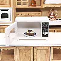 Gaddrt Mini Microwave Oven 1:12 Dollhouse Miniature Furniture Room Wooden Furniture Microwave Oven White Kids Pretend Play Toy Perfect for Interior Model