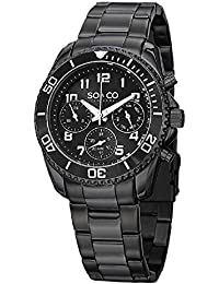 SO&CO New YorkMen's 5029.3 Yacht Timer Black Unidirectional Bezel GMT Day and Date Stainless Steel Link Bracelet Watch