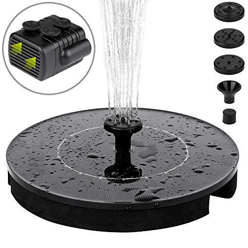 Monzana Solar Springbrunnen Solarpumpe Wasserspiel | ø 180 mm | 150 Liter/h | monokristallines Solarpanel | 4 Fontänendüsen