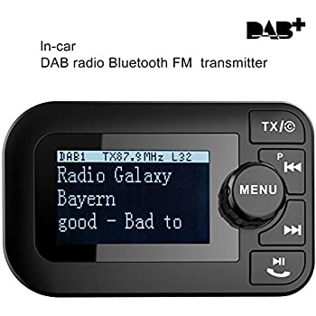"""YINUO 5 in 1 In-Car DAB/DAB+ Digital Radio&FM Transmitter with Bluetooth Handsfree Car Kit/Charging Function/SD Card Player/2.3"""" LCD Display,Include DAB antenna (DAB005)"""