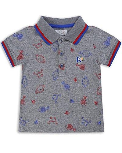 The Essential One - Baby Kinder Jungen Poloshirt / Polo / Polohemd - 9-12 M - Grau/Rot/Blau - EOT225
