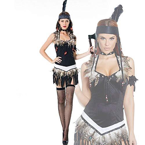 Yunfeng Hexenkostüm Damen Halloween Kostüm Aborigines Kostüm cos Uniform Savage Wald Jäger Kostüm mit ()