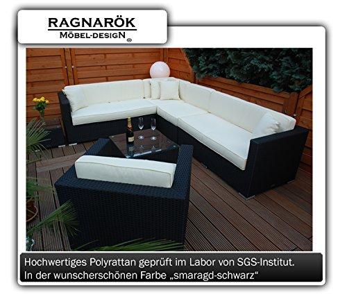 Ragnarök-Möbeldesign PolyRattan Lounge - DEUTSCHE Marke - 8 Jahre GARANTIE auf UV-Beständigkeit - EIGENE Produktion - Garten Möbel incl. Glas und Polster schwarz Gartenmöbel
