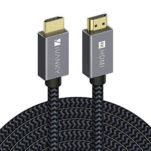 iVANKY Câble HDMI 4,6m 4K Ultra HD - Câble HDMI 2.0 en Nylon Tressé Supporte Ethernet/3D/Retour Audio - Cordon HDMI 4,6m pour Lecteur Blu-Ray/Xbox/PS4 - Gris Sidéral