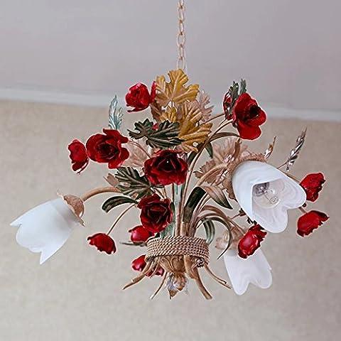 Chandelier lamp garden aged wrought iron body and lowers rose glass shape ceiling light pendant lamp lighting
