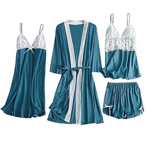 ZEELIY 2020 Saint Valentin Ensemble de Pyjama 2/4/5 Pièces Femme, Vêtement de Nuit Dentelle Col V Doux Sexy Lingerie de Nuit Chemise Nuisette, Haut + Pantalon de Pyjama xb_Bleu Clair - 4pcs L