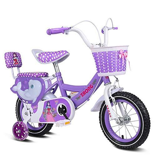 """1-1 12"""" 14"""" 16"""" 18"""" Zoll Kinderfahrrad Mädchen ab 3 Jahre mit V-Brake und Rücktritt - BMX Modell 2019,Purple,18IN"""