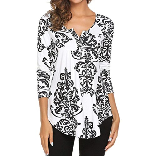 OYSOHE Womens Long Sleeve O Neck Floral Tops Ladies Casual Flare Tunic Blouse Shirt