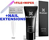 BLUESKY GUM GEL UV/LED SOAK OFF BUILDER GEL NAIL POLISH 60ml, +CREATE EXTENSIONS, SCULPT AND ENCHANCE NAILS NAIL FILE + 2 SHINE WIPES (CLEAR) + 10 NAIL EXTENSIONS /DUAL FORM + CRYSTAL GLASS NAIL FILE IN A PROTECTIVE CASE