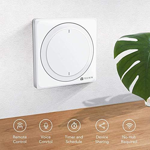 TECKIN Interruptores Inteligentes de pared, compatibles con Alexa, Google Home e IFTTT,  Interruptores WiFi Inteligentes con control remoto y de voz, Ajuste del Temporizador,  No Se Sequiere Hub.