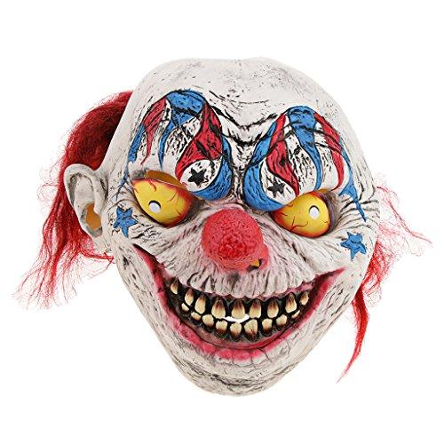 (D DOLITY Horror Maske Latexmaske Zombiemaske Clown Hexe Makse Kostüm Accessoires Perfekt für Halloween Fasching Cosplay und Party auch als Foto Accessoires, Unisex - Zirkus Clown)