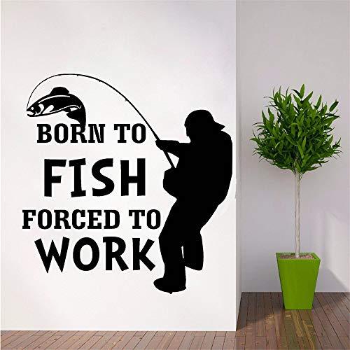 Syssyj Angeln Wandaufkleber Outdoor-Aktivität Wandtattoo Abnehmbare Autofenster Decor Geboren Fisch Fototapete Vinyl Fisher Poster 57 * 59 Cm