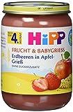 HiPP Frucht und Babygrieß Erdbeeren in Apfel-Grieß, 1er Pack (1 x 190 g)