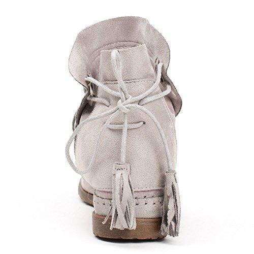 Ideal Shoes - Bottines effet daim avec broderies et franges Abbie Gris
