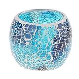 Homyl Mosaikglas Windlicht Teelichthalter Teelicht Kerzenhalter Mosaik Deko Kugel, Farbwahl - Blau