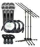 Pronomic DM-58 Vocal Mikrofon 3er Starter Set (dynamisches Handmikrofon mit Schalter, Richtcharakteristik: Superniere, inkl. 3 Ständer, 3 Klemmen + 3x 5m XLR-Kabel)