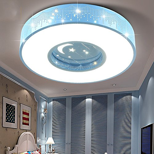 LIXIONG Kinderzimmer LED Acryl Rund Blau Deckenleuchte Boy Schlafzimmer Deckenleuchte (40cm / 50cm / 60cm) Beleuchtung / Innenbeleuchtung-Wirkungsgrad: A +++ ( Farbe : Versprechen Dimmen , größe : 60CM-40W ) (Wirkungsgrad)