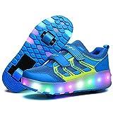 SKATE Ragazzi Ragazze Light up Roller Shoes con 2 Ruote Sneakers for Kids Youth Rullo (Colore : Blu, Dimensioni : 33)