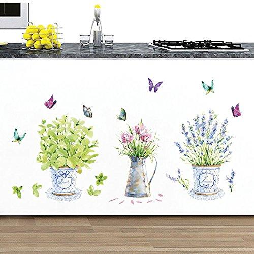 iTemer Pegatinas pared decorativas Decoracion pared Vinilos decorativos pared dormitorio Stickers Verde Flores Plantas en macetas