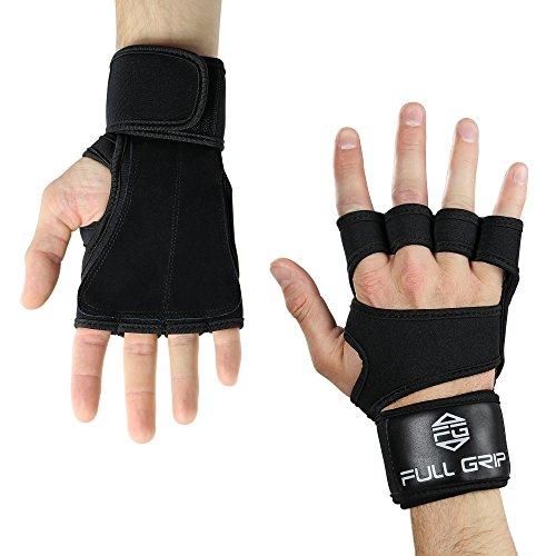 Full Grip 2- in 1 Fitness Handschuhe/Trainingshandschuhe mit Integrierter Handgelenksbandage/Handgelenksstütze für Das Fitnesstudio/Gym (Schwarz, L)