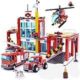 Bausteine Feuerwehrstation, Große City Feuerwehr Wache mit Leiterwagen, Einsatzleitwagen und Feuerwehr Hubschrauber