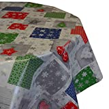 DecoHomeTextil Wachstuch Tischdecke RUND OVAL Farbe & Größe wählbar Weihnachtstischdecke Weihnachtsglöckchen Silber 140 x 300 cm Oval abwaschbare Wachstischdecke