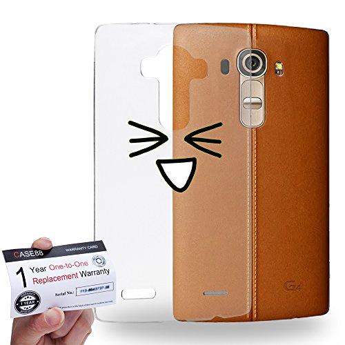 Case88 [LG G4] Gel TPU Hülle / Schutzhülle & Garantiekarte - Art Fashion Excited Kawaii Emoticon Edition * Transparent background *