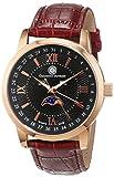 Constantin Durmont Herren-Armbanduhr Calendar Phase of Moon Analog Quarz Leder CD-CALE-QZ-LT-RGRG-BK, Rosegold