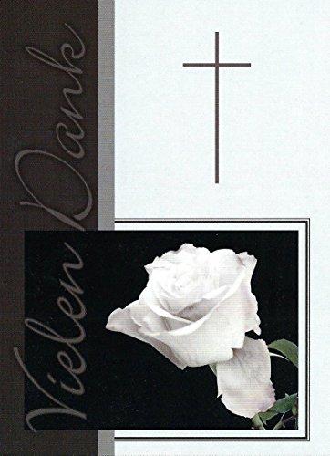 15 Danksagungskarten Trauerkarten mit Innentext und Umschlägen Motiv Rose / Kreuz Trauerkarte Trauer Danke (K59)