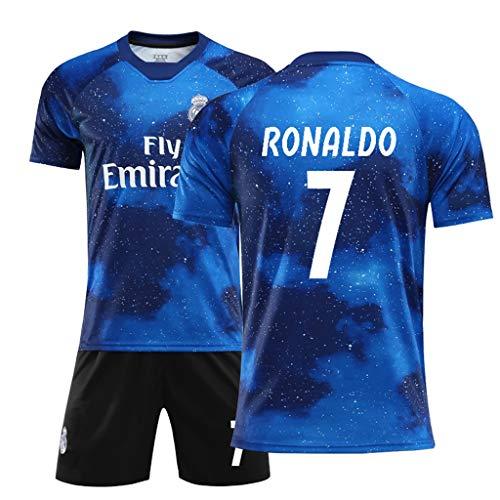 Kinder Jungen Kostüm Sportswear - FNINES Fußball-Kostüm Real Madrid Jersey No. 7 C Ronaldo Fußball Sportswear T-Shirts Und Shorts Kinder Und Jugend Größe,A,24