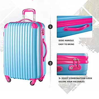 "Travelhouse Executive Business Bag Luggage Travel Flight Case Suitcase New (28"", Blue & Rose) 6"