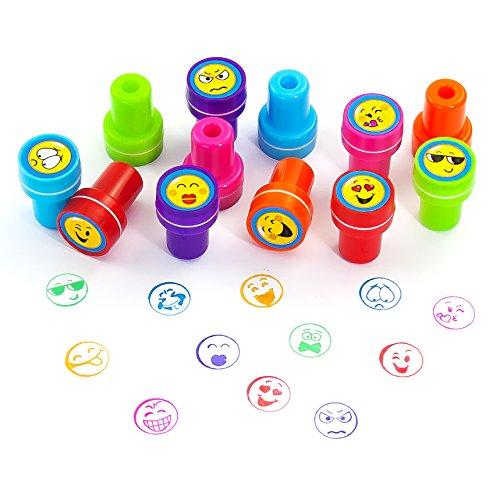 Oblique-Unique® - Stempelset Smileys 12 Stück - Kinder Stempel - Selbstfärbend
