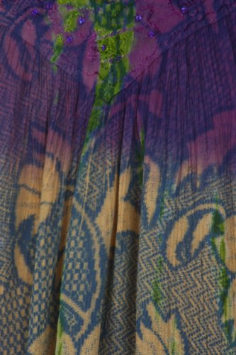 Sakkas Chemisier Sans Manches Multicolore Tie and Dye Floral à Paillettes Crème Violet