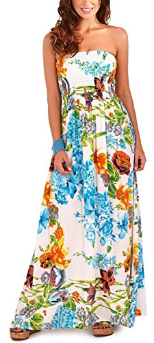 Pistachio Tropical Or Floral Print Long Dresses Womens Bandeau Maxi