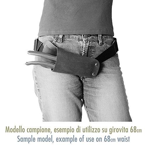 Multiuso/2 - Portaforbici in Vero Cuoio, Colore Nero, Rivetti Cromati, Fatto a mano in Italia, Cintura non Inclusa