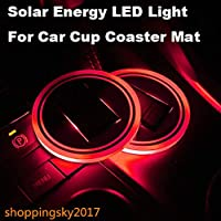 Universal Solar LED Car Holder Portavasos antideslizante Impermeable Pad Botella Bebidas Coaster Atmósfera Lámpara para Coche