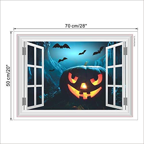 2 PACK,Kürbis Laterne Fledermäuse Wandtattoos Halloween Dekorationen 3D Gefälschte Fenster Home Aufkleber Festival Wandbild Kunst Poster PVC Kinder Geschenke