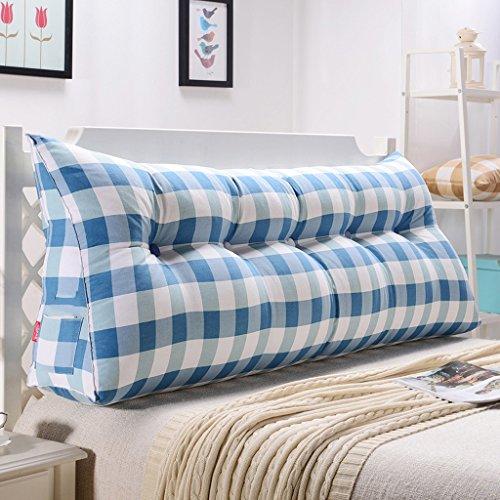 uus Ergonomisches Design Dreieck Sofa Kissen Bett Kissen abnehmbar waschbar Baumwolle Abdeckung 3D hochelastische Perle Baumwolle Füllung weichen und komfortablen weißen und blauen quadratischen Muster ( größe : 100cm (3 Buttons) )