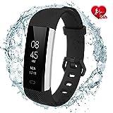 fitpolo Smartwatch Damen Fitness socken mit Pulsmesser Wasserdicht IP67, Aktivitätstracker Fitness Uhr Smartwatch, Pulsuhren, Schrittzähler Uhr, für Damen Herren(Schwarz)